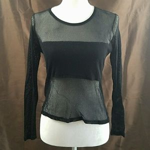 90s MODA INTL long sleeve mesh tee punk goth shirt